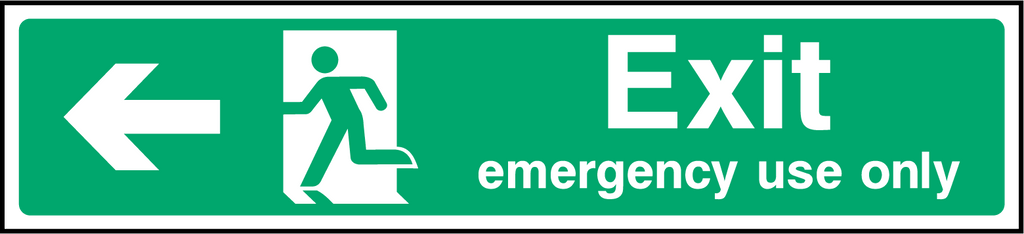 Exit Emergency Use Only (Left) Sign - Printed Agility