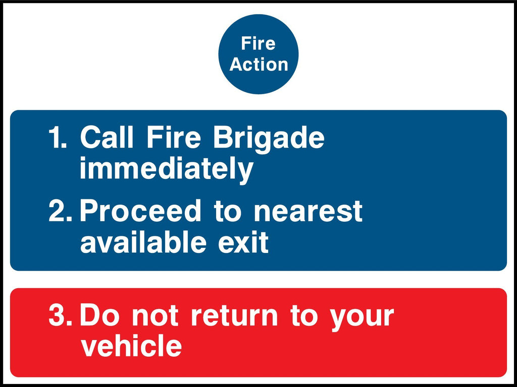 Fire Action, Call Fire Brigade Immediately, Proceed To Nearest Available Exit, Do Not Return To Your Vehicle Sign - Printed Agility