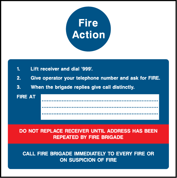 Fire Action, Manually Call 999 Sign - Printed Agility