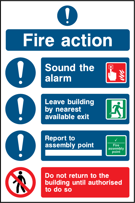 Fire Action, Sound The Alarm, Leave Building, Report To Assembly Point Sign - Printed Agility