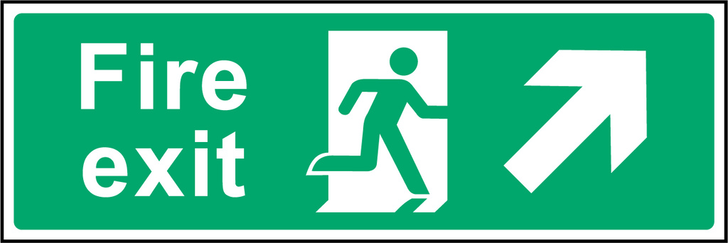 Fire Exit (Up & Right) Sign - Printed Agility