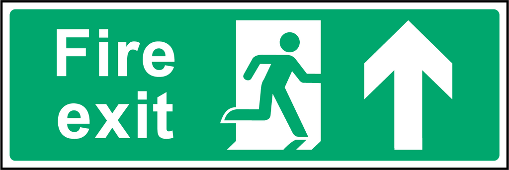 Fire Exit (Up/Straight On) Sign - Printed Agility