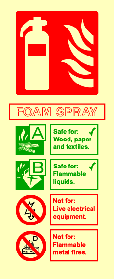 Fire Extinguisher (Foam Spray) Sign - Printed Agility