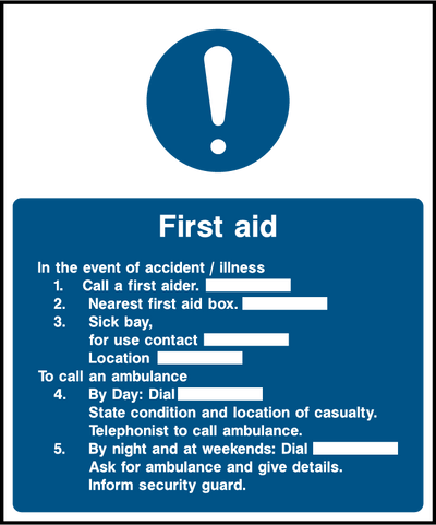 First Aid In The Event Of Accident/Illness Sign - Printed Agility