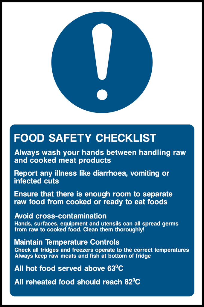 Food Safety Checklist Sign - Printed Agility