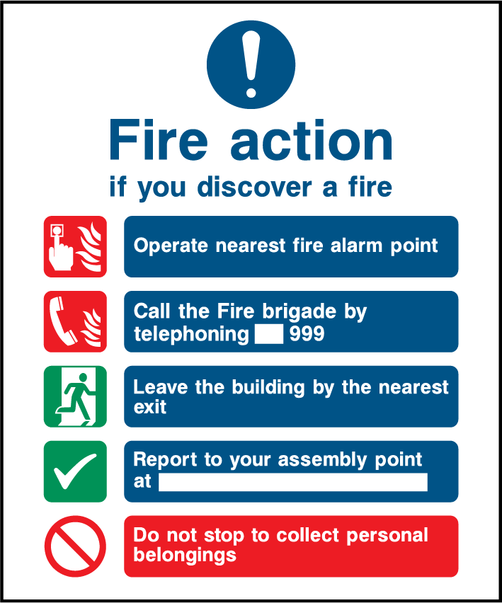 General Fire Action, Manually Call 999, Report To Assembly Point Sign - Printed Agility