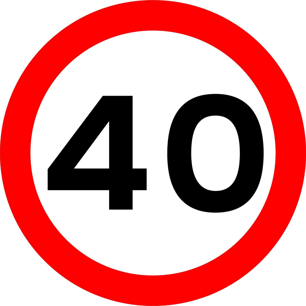 Maximum Speed 40mph Sign - Printed Agility