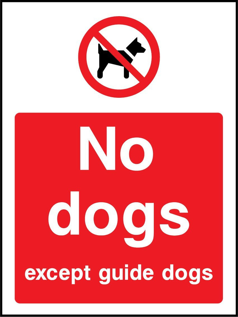 No Dogs Except Guide Dogs Sign - Printed Agility