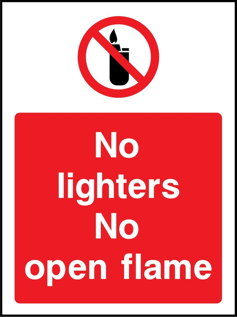 No Lighters No Open Flame Sign - Printed Agility