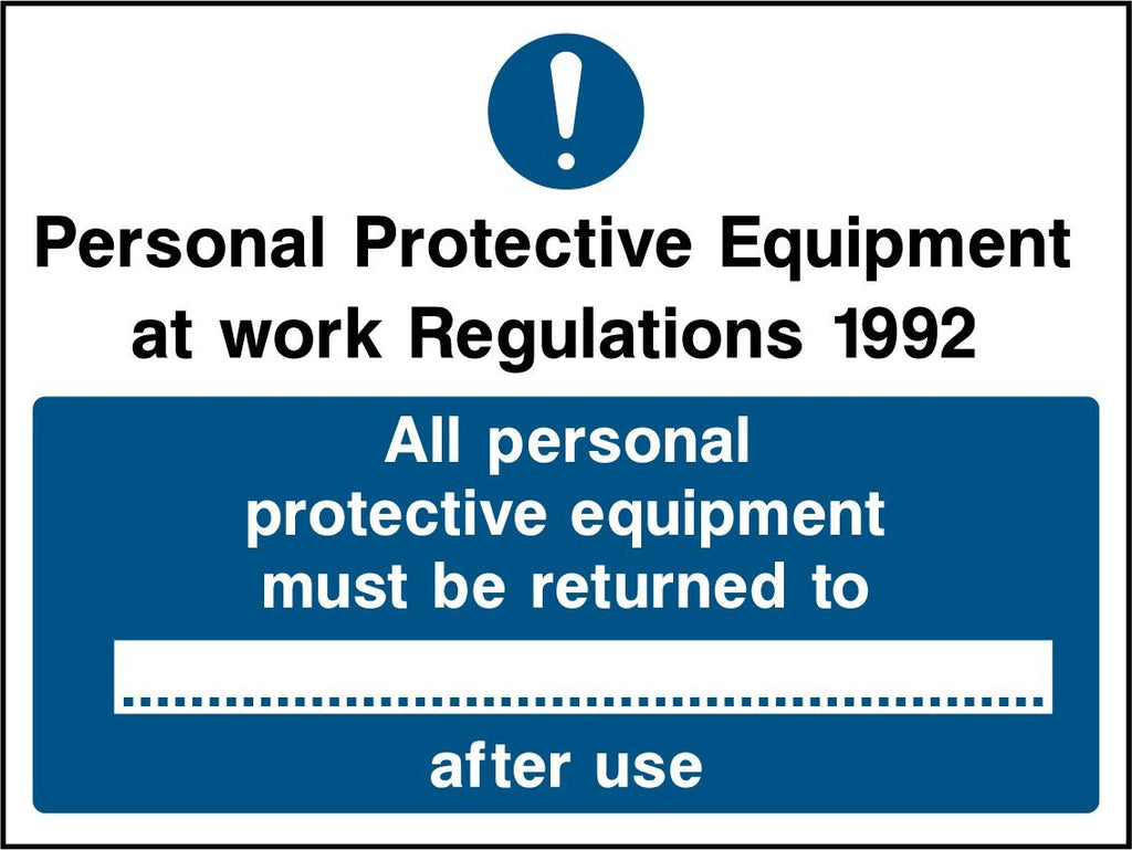 PPE At Work Regulations 1992, All Personal Protective Equipment Must Be Returned To After Use Sign - Printed Agility