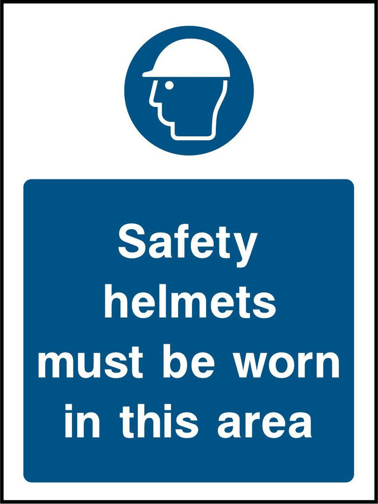 Safety Helmets Must Be Worn In This Area Sign - Printed Agility