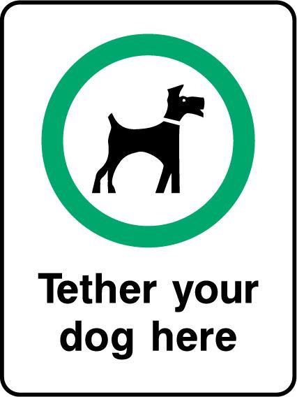 Tether Your Dog Here Sign - Printed Agility