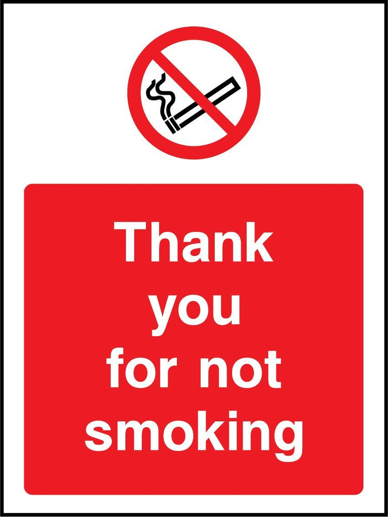 Thank You For Not Smoking Sign - Printed Agility