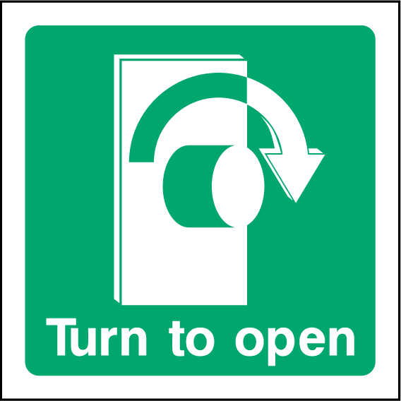 Turn To Open (Right) Sign - Printed Agility