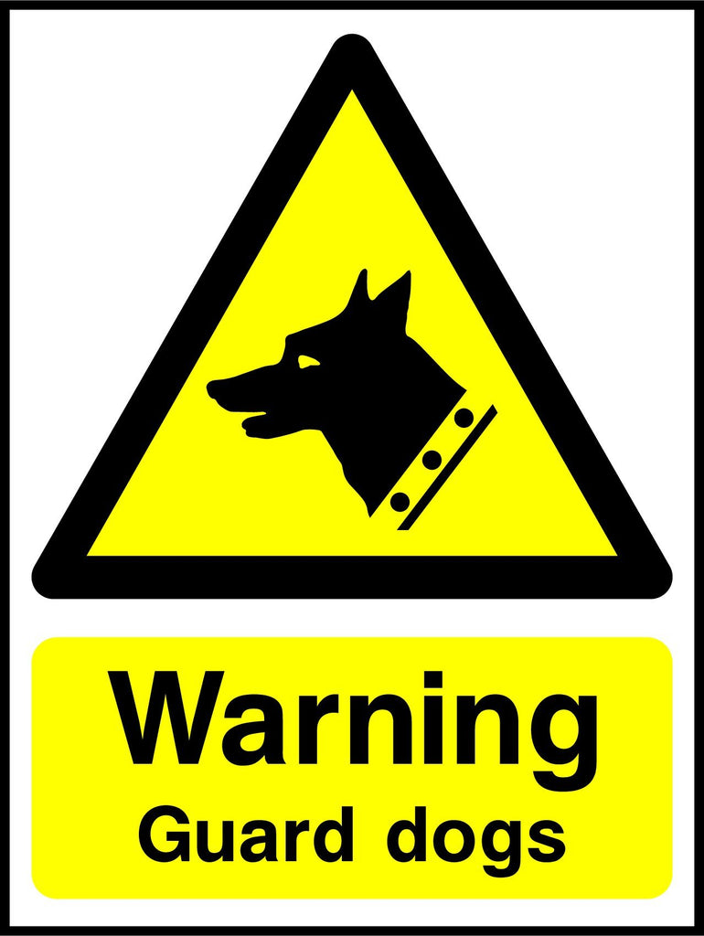 Warning Guard Dogs Sign - Printed Agility