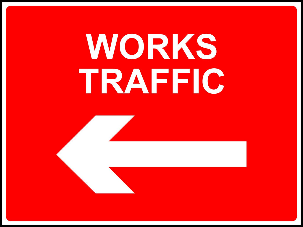 Works Traffic (Left Arrow) Sign - Printed Agility