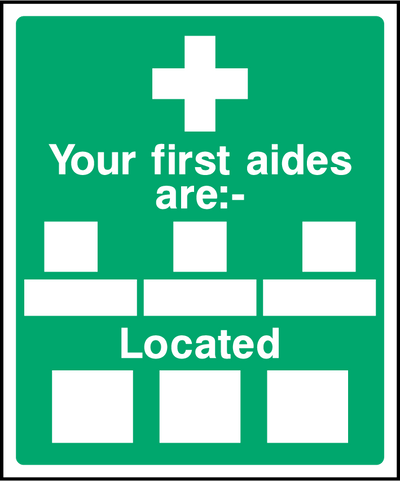 Your First Aides Are, Located Sign - Printed Agility