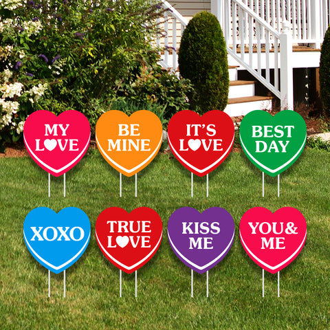Valentines Day Hearts Yard Sign
