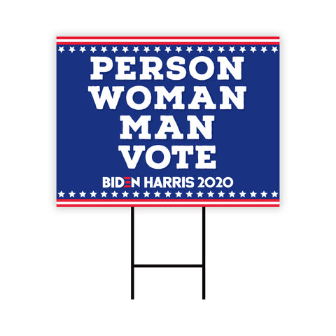 Person Woman Man Vote Biden for President 2020 Yard Sign