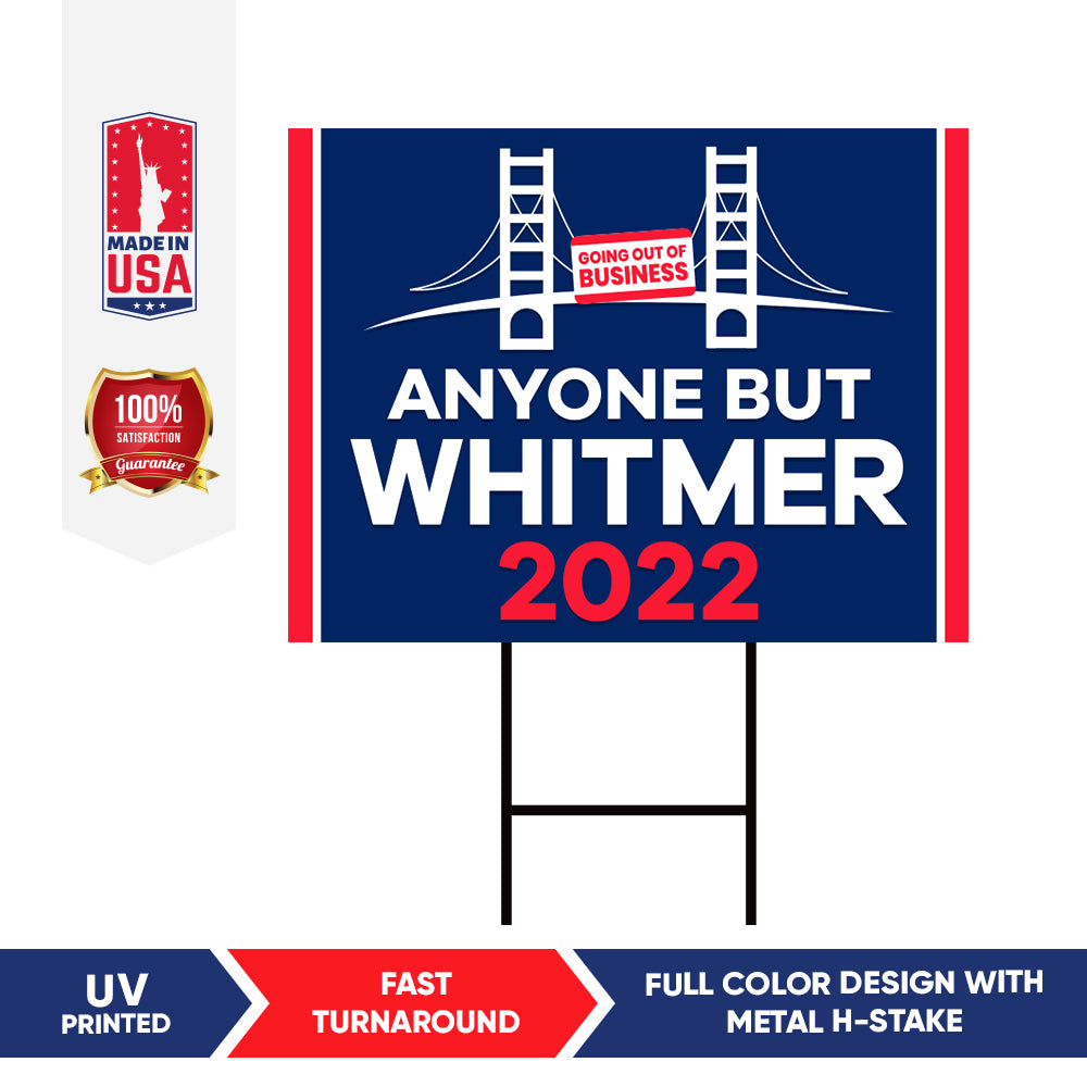 Anyone But Whitmer 2022 MI Yard Sign