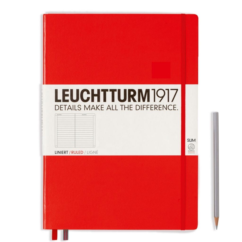 Leuchtturm1917 Master Slim Red Lined Notebook