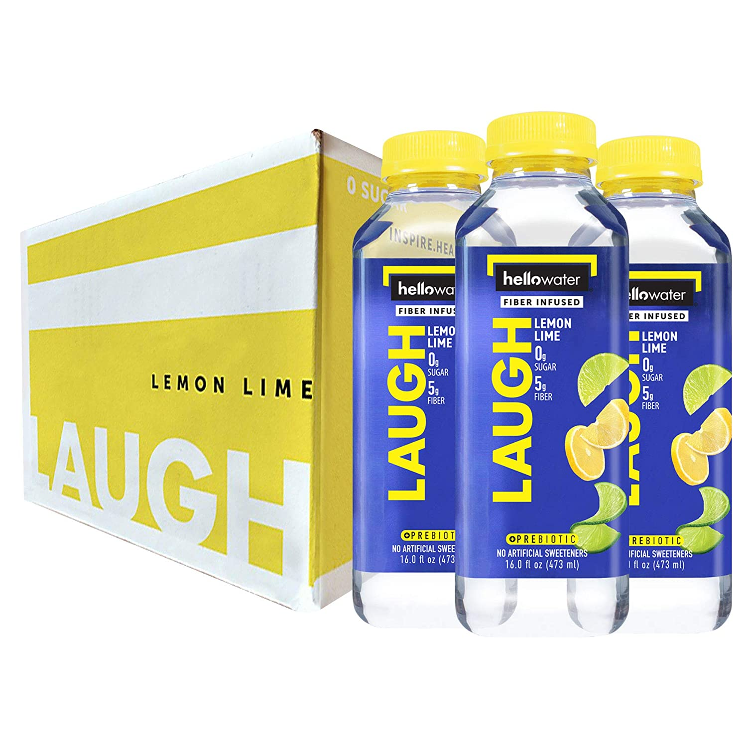 Laugh, Lemon-Lime hellowater. <br> Pack of 12