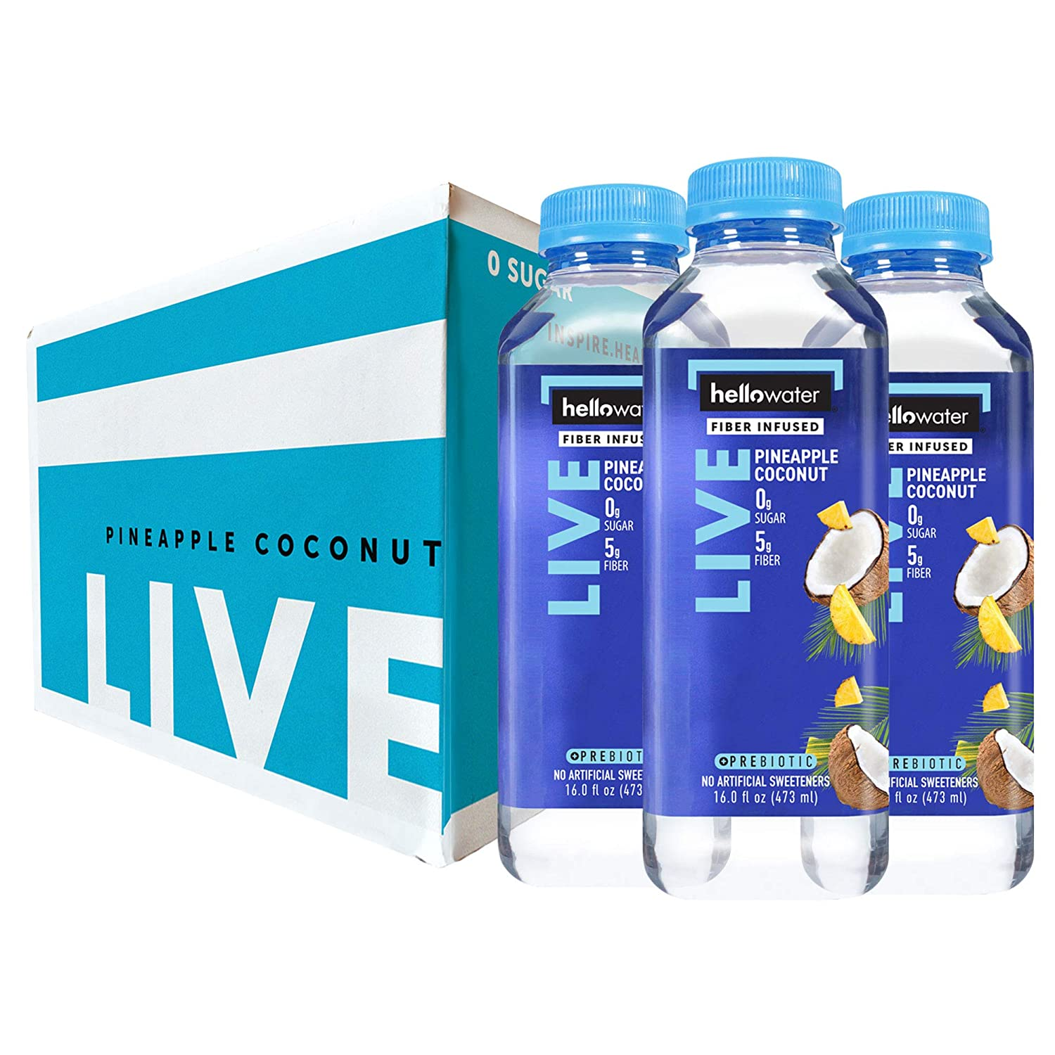 Live, Pineapple-Coconut hellowater. <br> Pack of 12