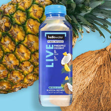 Load image into Gallery viewer, Live, Pineapple-Coconut hellowater. <br> Pack of 12