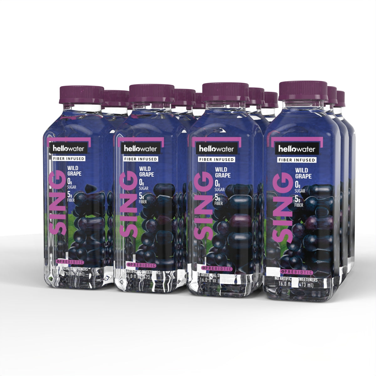 Sing, Wild Grape hellowater. <br> Pack of 12