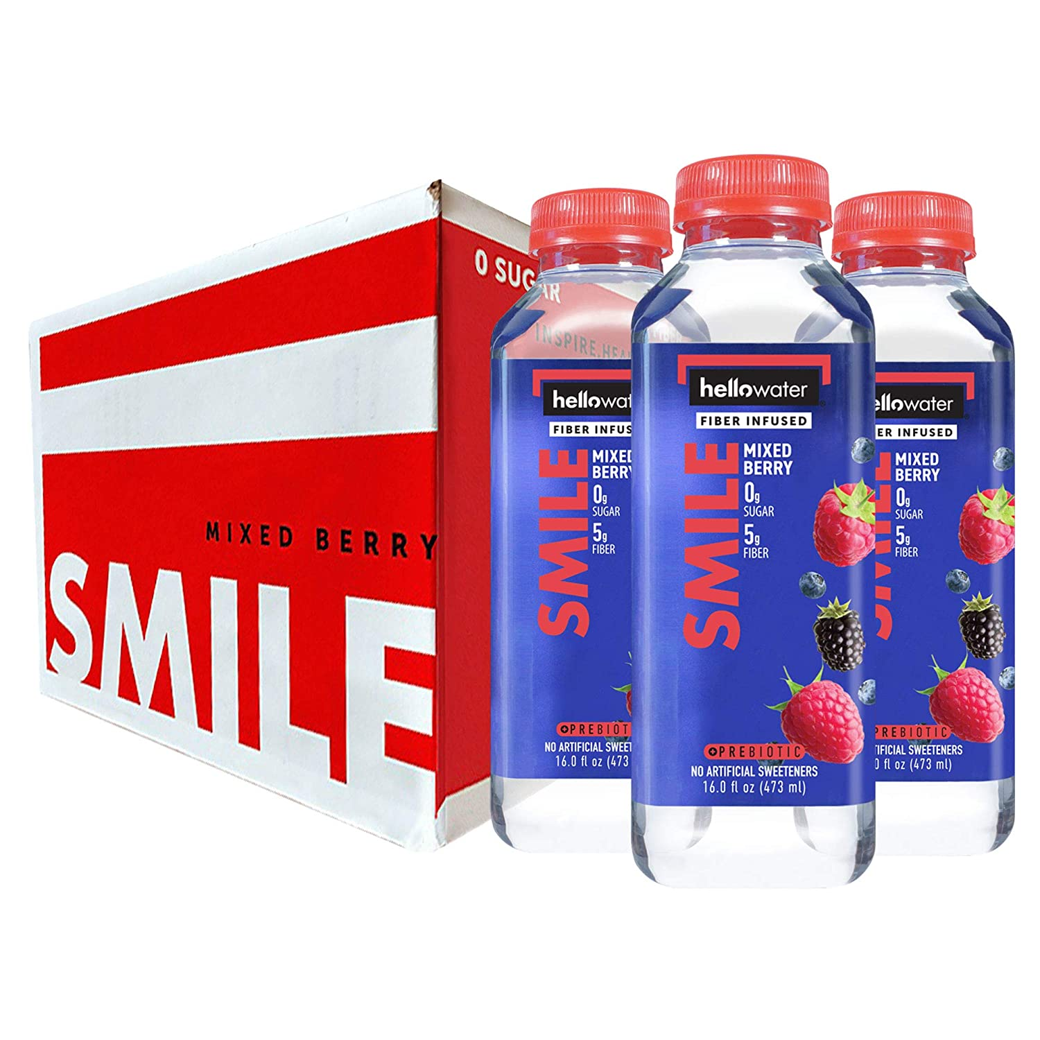 Smile, Mixed Berry hellowater. <br> Pack of 12