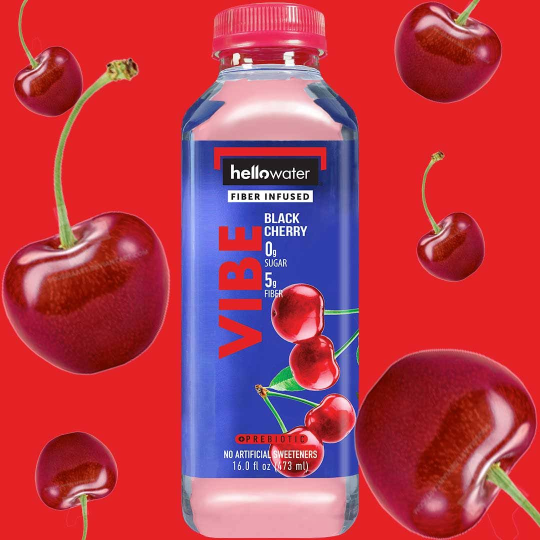 Vibe, Black Cherry hellowater. <br> Pack of 12