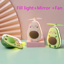 Load image into Gallery viewer, 2020 New avocado small usb rechargeable lamp portable lovely night light makeup mirror mini fan lamp