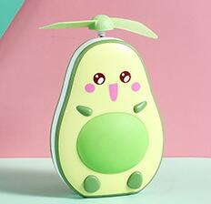 2020 New avocado small usb rechargeable lamp portable lovely night light makeup mirror mini fan lamp