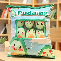 A Plushie Bag Pudding Toys Mini Animals Balls Doll Sakura Bunny Pig Hamster Penguin Fruits Strawberry Banana Candy Bag for Nap