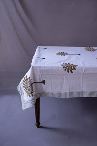 Raven Block Printed Palm Cotton Table Cloth