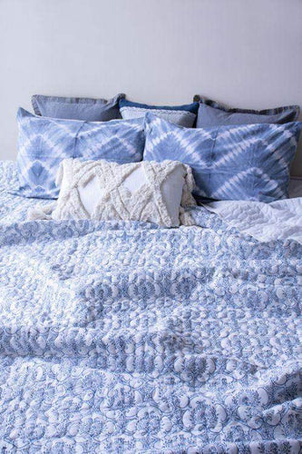 Santorini Hand Block Printed Indigo Quilted Bed Cover The Good Comfy | Home & Lifestyle