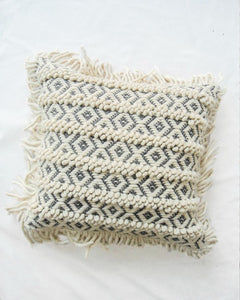 Nyla Handwoven Recycled Cotton and Recycled Acrylic Cushion Cover with Cunhky Tassels-TGC