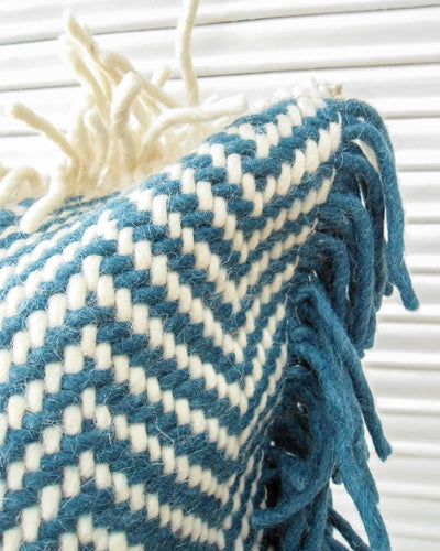 Meara Handwoven Recycled Cotton and Recycled Acrylic Cushion Cover with Cunhky Tassels-TGC