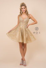 Nox N R682 - Short Homecoming Dress With Plunging Lace Top Spaghetti Strap Corset & Glitter Skirt - Diggz Prom