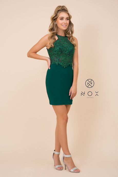 Nox N E697 - Short Bodycon Halter Homecoming Dress with Beaded Applique - Diggz Prom