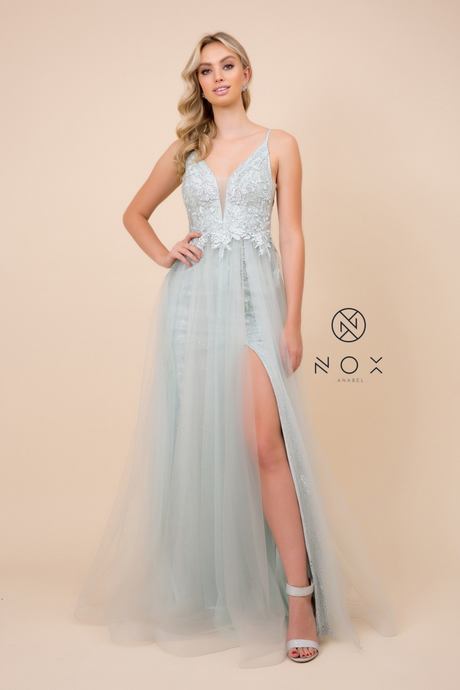 Nox N E367 - Sparkling Tulle A-Line Prom Gown with Lace Bodice & Leg Slit - Diggz Prom