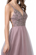 AS 2416 - A-Line Prom Gown with Rhinestone Embellished Bodice Strappy Open Back & Tulle Skirt - Diggz Prom