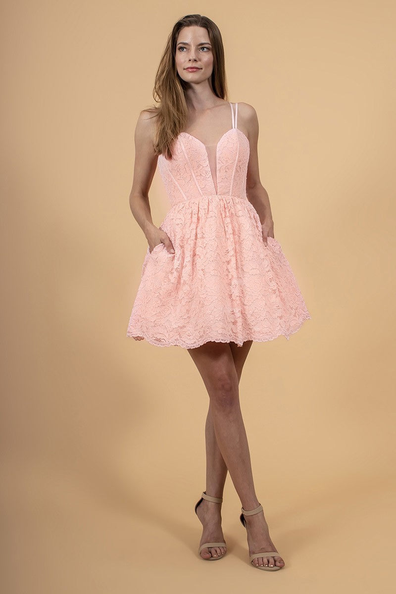GL 1602 - Short Lace Homecoming Dress with V-Neck Strappy Back & Scalloped-Hem - Diggz Prom
