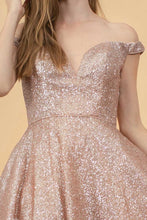 GLS GL 1626 - Glittery Off the Shoulder Short Homecoming Dress with Boning - Diggz Prom