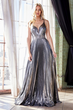 Cinderella Divine Chart I CD CW230 - Metallic Lame Pleated A-Line Prom Gown with Beaded Belt & Criss-Cross Back - Diggz Prom