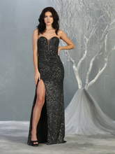 MQ 1747 - Full Sequin Strapless Fit & Flare Prom Gown with Sweet Heart Neck Strappy Open Back & Leg Slit