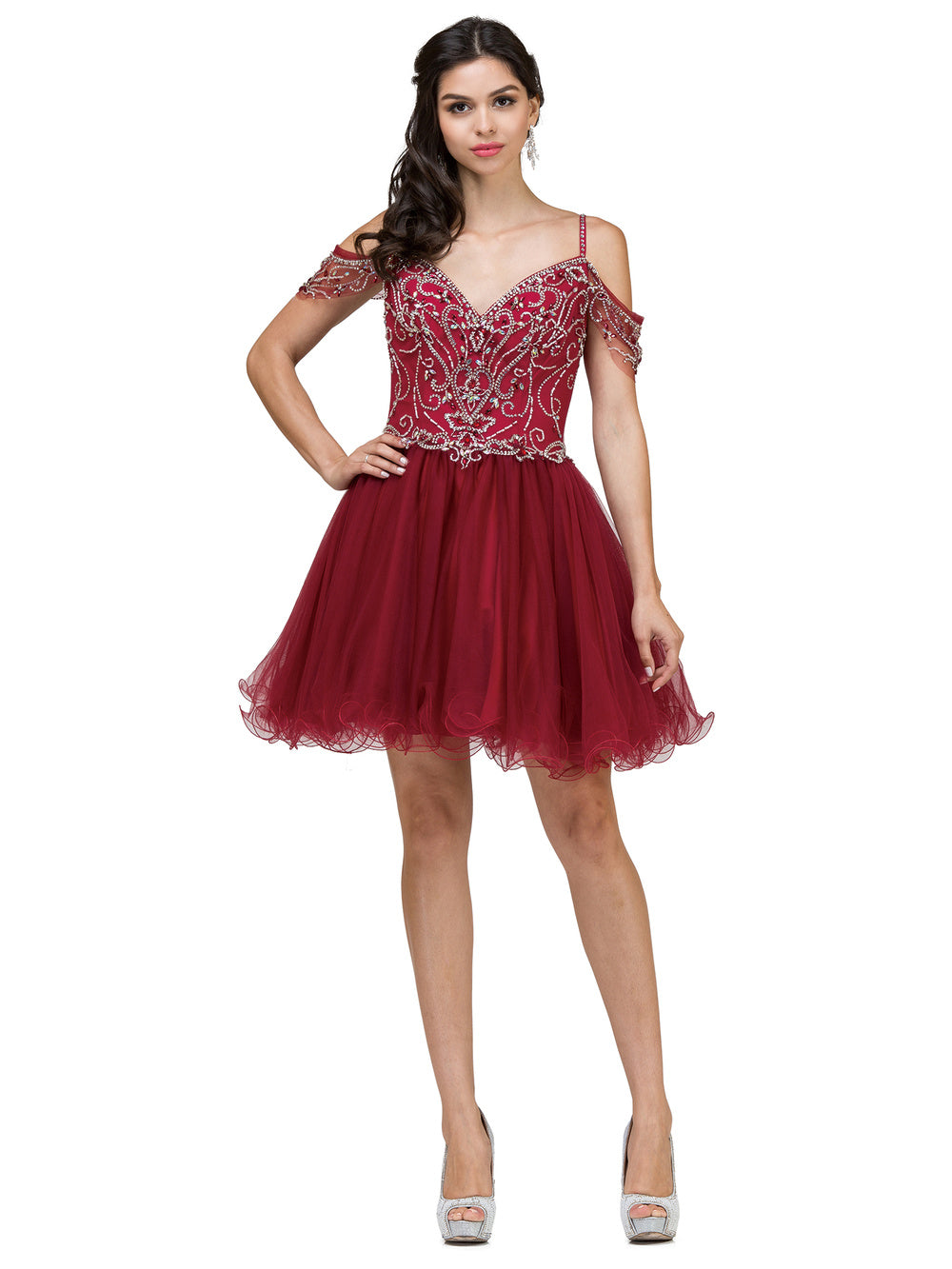 DQ 2023 - Short Off-The-Shoulder Homecoming Dress with Corset Back - Diggz Prom