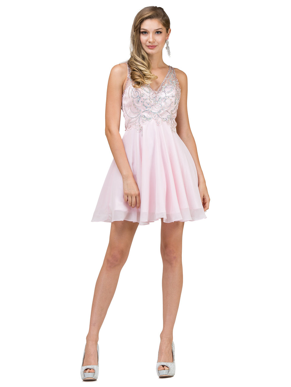 Dancing Queen DQ 2124 - Homecoming V-Neck with Sheer Cut Out Back Short Chiffon Skirt - Diggz Prom