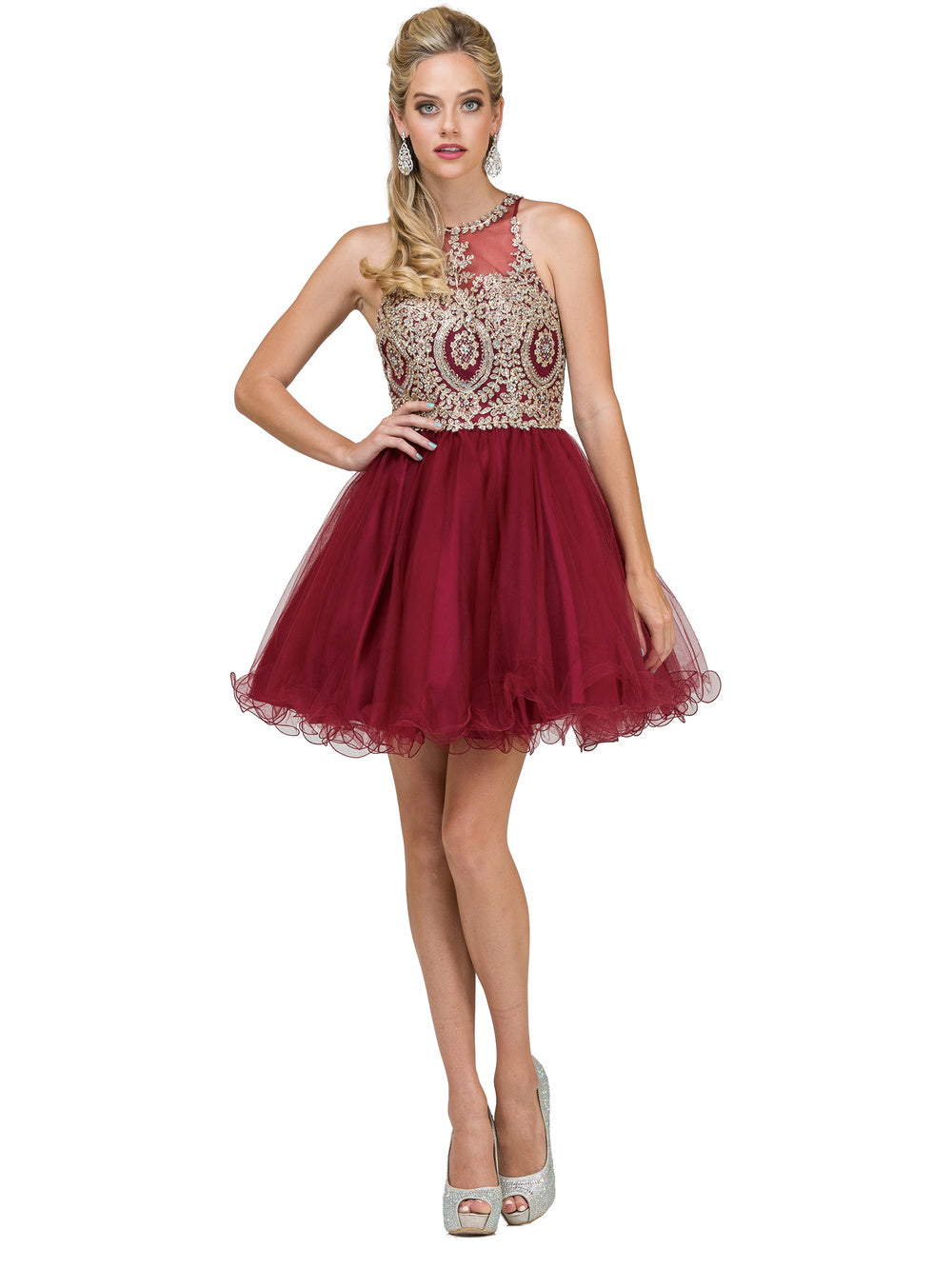 DQ 2156 - Lace-Applique High-Neck Homecoming Dress - Diggz Prom