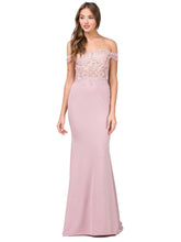 DQ 2274 - Off-the-Shoulder Fit & Flare with  Appliqué Bodice & Train - Diggz Prom